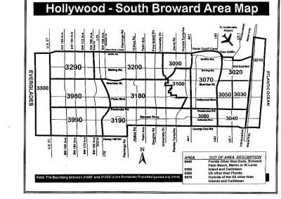 Hollywood- South Broward Area map